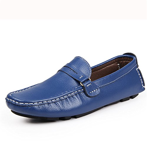 HENGJIA Herren Klassische Loafers Freizeitschuhe Schlupfhalbschuhe Bequeme Fahrerschuhe A001 Blau