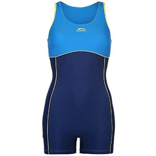 Boyleg Kostüme Damen Schwimmen (Slazenger Womens Boyleg Beinanzug Damen Badeanzug Badeanzug Beachwear Schwimmen strand Schwimmbad Kostüm Blau Zitrone 10)