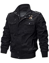 Hombre Mangas Largas Bomber Chaqueta Moda Otoño Invierno Abrigo Hombres Collar de Pie Cremallera Cazadora Carga Militar Chaqueta Caqui/Verde/Negro