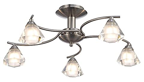 Contemporary 5-Arm Satin Nickel Ceiling Light with Cut Frosted and Clear Glass Shades by Haysom Interiors