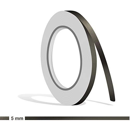 Siviwonder Zierstreifen anthrazit grau metallic Glanz in 5 mm Breite und 10 m Länge Folie Aufkleber für Auto Boot Jetski Modellbau Klebeband Dekorstreifen dunkelgrau Silber