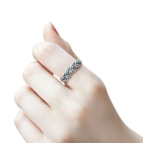 Samtlan - Koreanische Art S925 Sterlingsilber-Art- und Weisepers5onlichkeit Retro- Öffnungs-Torsion-Ring / runde Korne öffnen silberner Ring für Frauen (Antik Aquamarin Ringe)