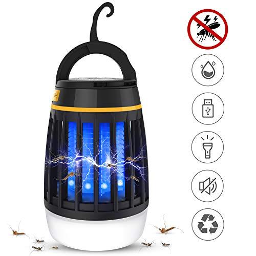 Dkinghome Anti Moustiques Lampe Camping Lanterne Tueur Moustique Rechargeable Lumière Extrérieur Insecte Piège Répulsif LED Portable Electrique 3 en 1 - Noir