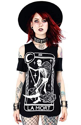 Restyle T-Shirt frío del Hombro Gótico La Mort - Negro (XS - ES 36)