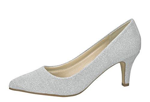 Rainbow Club Brautschuhe Brooke - Silber Metallic - Pumps Größe 38 EU 5 UK Damen (Damen Pumps Größe 5)