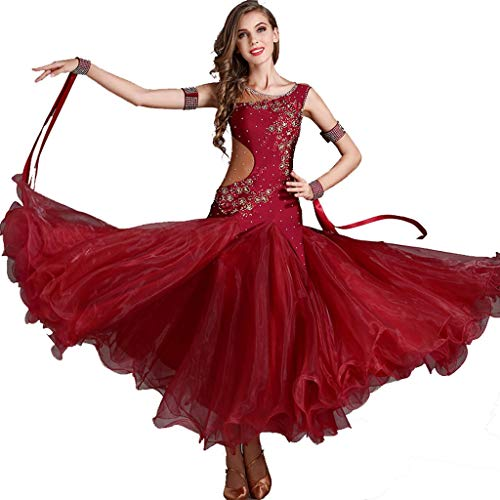 CX Ballroom Dance Performance Kleider Für Frauen Smooth Waltz Tango Langarm Great Swing Dance Kostüm (Color : Wine red, Size : L)