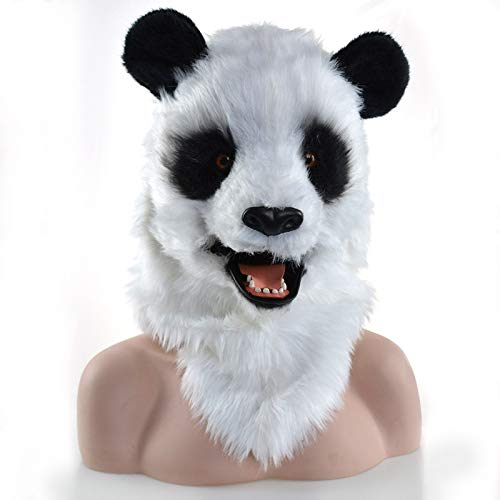Viele Kostüm Kopf Maske Halloween Party Maske beweglicher Mund Panda Maske Tier Fursuit Maske Tier Karneval Panda Kopf Maske (Color : White) (Macht Ein Furry Kostüm)