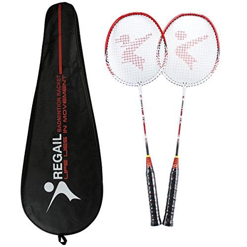 Philonext Badmintonschläger, Badminton Set Carbon Badmintonschläger Federballschläger, Leichtgewicht Badminton Schläger, 2 Spieler Badminton Praxisschläger Set Einschließlich 2 Schläger/1 Tragetasche - rot