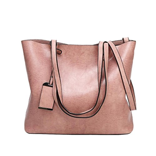 Damen Retro Casual Fashion Leder Handtasche Schultertasche Messenger Bag Umhängetasche Shopper Langlebig Staubbeutel für Travel Tägliche Arbeit grau 32cm(L)*13cm(W)*28cm(H) rose