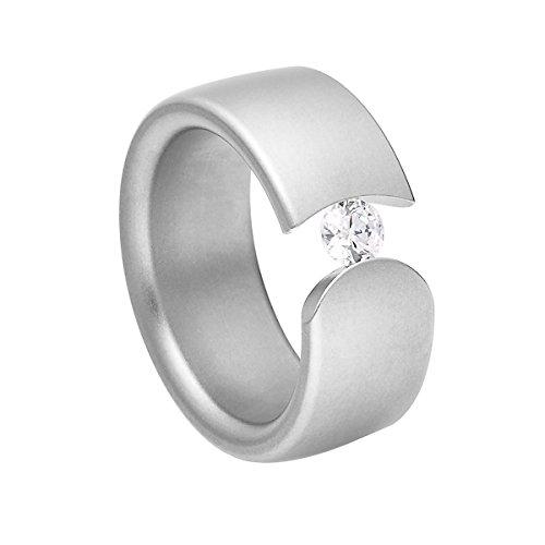 Heideman Damen-Ring figura matt Gr.53 Swarovski zirconia weiß 4 mm Ringe mit Stein Zirkonia Diamant Edelstahl Größe 53 (16.9) (4 Stein-diamant-ring)