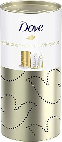 Dove 3er Geschenkpack mit Windlicht Pflege und Öl Duschöl 200 ml, Derma Spa Intensiv Verwöhnend³ Body Lotion 200 ml und Handcreme 75 ml, 493 g