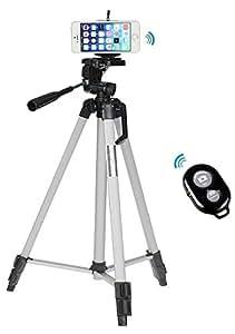 53 Zoll Professional Kamera Stativ+Handy Halterung Halter+Bluetooth Auslöser Fernauslöser für iPhone 6 plus/iPhone 6 5S 5C 5G 4S 4G-silber