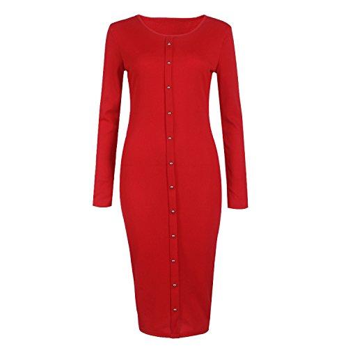 SUNNOW Design Femmes d'hiver Bouton à Manches Longues en Maille Moulante Robe Pull Rouge