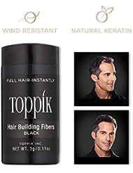 TOPPIK – Fibres Capillaires – Application facile - Kératine naturelle – Densifier racines cheveux, masquer calvitie, perte de cheveux et Alopécie – pour homme et femme - 3g - Noir