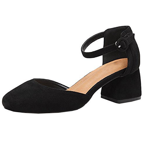 Oasap Women's Square Toe Ankle Buckle Block Heels Pumps Black