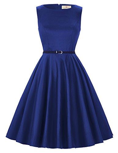 damenkleider 50s rockabilly kleid knielang retro vintage kleid festliches kleid blau S CL6086-54