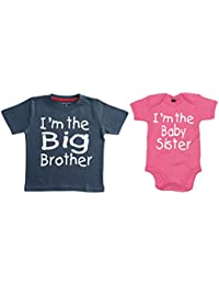 Matching Big Brother T-shirt with I'm the baby sister bodysuit set