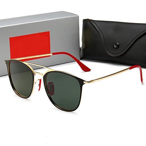 FANCYKIKI Herren Retro Driving Riding Sonnenbrille, polarisiert, UV-Schutz Damen Vintage High-End Sonnenbrille für Reisen im Freien (Farbe : Gold frame/Green)