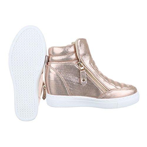 Sneaker Ital-design Sneaker Da Donna Scarpe Alte Tacco Alto Zeppa / Zeppa Zeppa Scarpe Casual Cerniera Oro Rosa