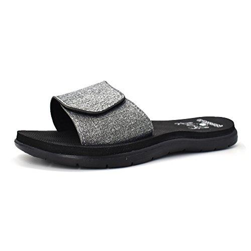 81118fc5854b KuaiLu Womens Flat Slide Sandals Adjustable Velcro Cushioned Foam Summer  Beach Shoes Non Slip