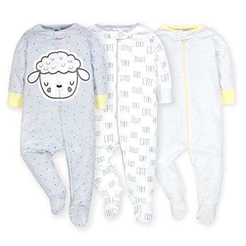 Gerber Onesies Baby Boy Sleep N Play Sleepers 3 Pack (0-3 Months, Sheep) -