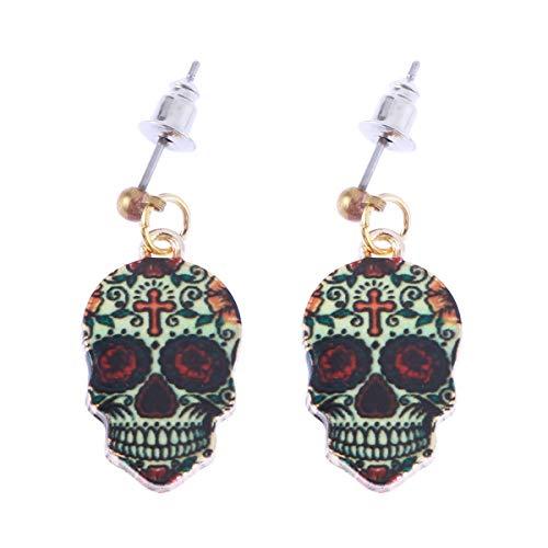 FENICAL Halloween Totenkopf Ohrringe Tag der Toten Sugar Skull Maske Design Ohrringe