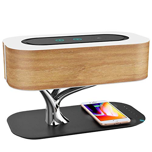 Preisvergleich Produktbild ZSSM Nachttischlampe mit Bluetooth-Lautsprecher und kabellosem Ladegerät Schlafmodus Stufenloses Dimmen Touch-Bedienfeld Nachtlicht Dekor LED-Nachttischleuchte