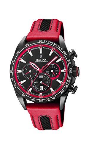 Festina Unisex Erwachsene Chronograph Quarz Smart Watch Armbanduhr mit Leder Armband F20351/6