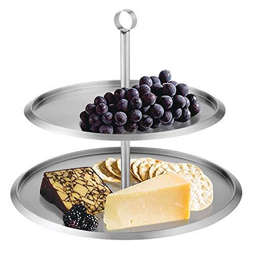 mDesign runde Etagere aus gebürstetem Edelstahl - modernes Serviertablett mit 2 Etagen - für Cupcakes, Kekse, Früchte, Desserts und Häppchen - silberfarben