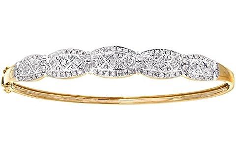 Naava Women's Diamond Bangle, 9 ct Yellow Gold, Illusion Setting Model PBC1819