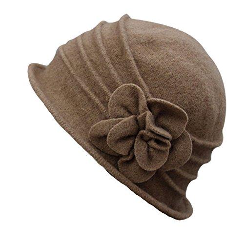 Butterme Damen Winter elegante Blumen-Wool Cap Beret Mütze Cloche Bucket Hat (Hut Kamel)