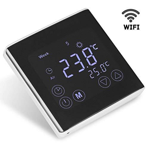 Termostato con WIFI, FLOUREON Termostato Eléctrico con Calefacción de Piso con WIFI, Digital y Programable, con Pantalla Táctil LCD, Control ON-LINE, 230 V, Color Negro [Última Generación de 2018]