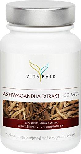 Ashwagandha Extrakt 500mg   Ayurvedisches Adaptogen mit 5mg Withanoliden pro Kapsel   90 Kapseln   Vegan   Ohne Magnesiumstearat   Made in Germany