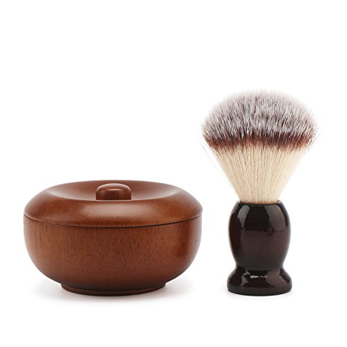 Segbeauty Wooden Shaving Brush and Bowl, Soft Shave Lather Brush, Vintage Shave Mug Cream Container with Lid, Beard Shaving Soap Bowl and Brush, Traditional Wet Shaving Kit