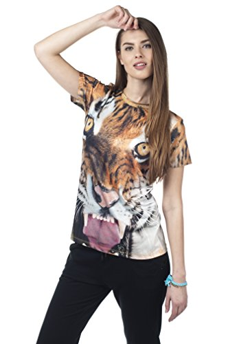 Unisex T-shirt, s Women'Herren shirt All Over Druck Party Sommer Jersey Top Funky Mops Fashion Bandana den perfekten Clubauftritt!!!! Orange - Tiger