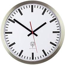 EUROTIME Funkwanduhr, 40 Cm, Edelstahlgehäuse Silber, Echtglas, Klares  Bahnhofszifferblatt, Automatische Zeitein