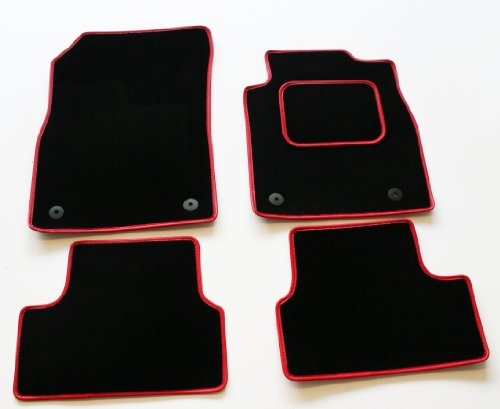 MP Essentials Black Carpet Car Floor Mats to fit Fiat 500 2013 Onwards + Fixings (Red Leather Trim)