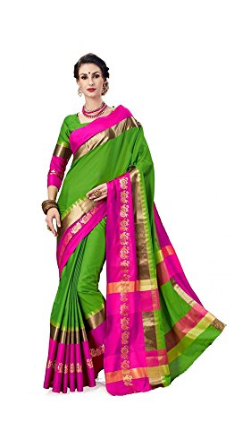 Art Decor Women's Green Color Cottons Silk Printed Saree With Blouse