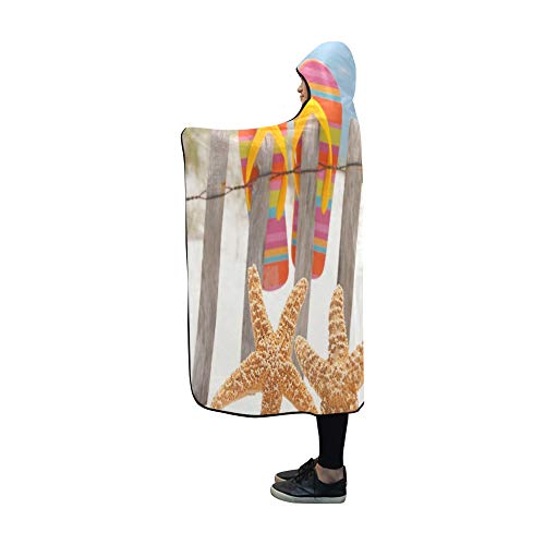 JOCHUAN Mit Kapuze Decke Flip Flops hängen am Zaun von Decke 60 x 50 Zoll Comfotable Hooded Throw Wrap -
