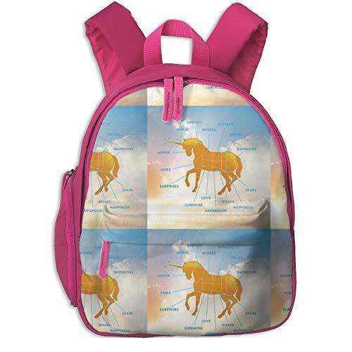 Zaino per bambini 2 anni,Unicorn Parts_5968 - nicgough, Per le scuole per bambini Oxford panno (rosa)