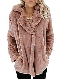 0ca2fca4c38b95 Angashion Plüschmantel Damen lose Sweatshirt mit Kapuze Mantel Langärmelige  Einfarbige Strickjacke Jacke mit Taschen Warmen Winter