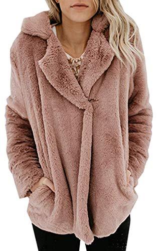 Angashion Plüschmantel Damen lose Sweatshirt mit Kapuze Mantel Langärmelige Einfarbige Strickjacke Jacke mit Taschen Warmen Winter Rosa S
