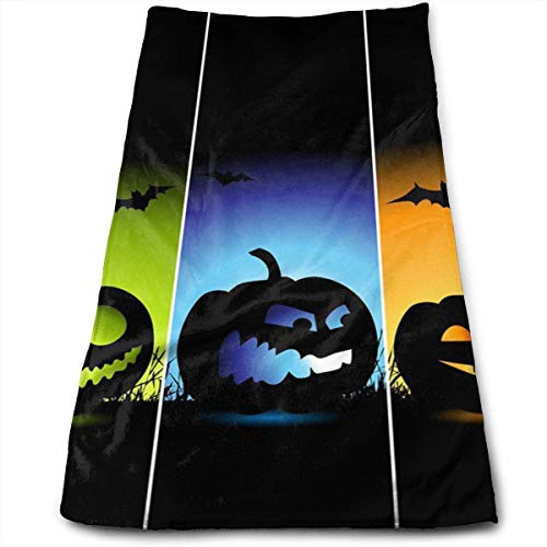 ERCGY Cool Pumpkin Halloween 100% Polyester Towels Ultra Soft & Absorbent Bathroom Towels - Great Shower Towels, Hotel Towels & Gym Towels (Halloween Beach Grays)