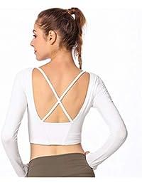 a1a4e3acb71ea Women Creative Fashion Yoga T-shirt Long Sleeve Pure Color Gymnastics  Ballet Dance Wear Costume
