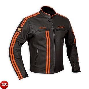 Giacca moto pelle Protezioni omologate Custom Naked Vintage Retro' Arancione XL