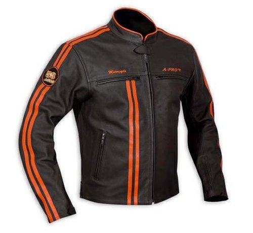*Lederjacke Herren Biker Motorrad CE Protektoren Echtleder Thermic Orange M*