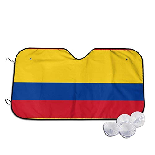 Bellaer Parasole per Auto, Colombia Flag Front Car Sunshade Windshield Foldable Sunshade for Car SUV Trucks Minivans Sunshades Cools Vehicle Interio