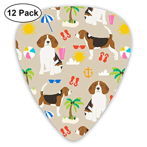 Beagle Beach Cute Summer Beach Sunshine Design - Sand Classic Celluloid Picks, 12-Pack, For Electric Guitar, Acoustic Guitar, Mandolin, And Bass - Metal Locking Tool
