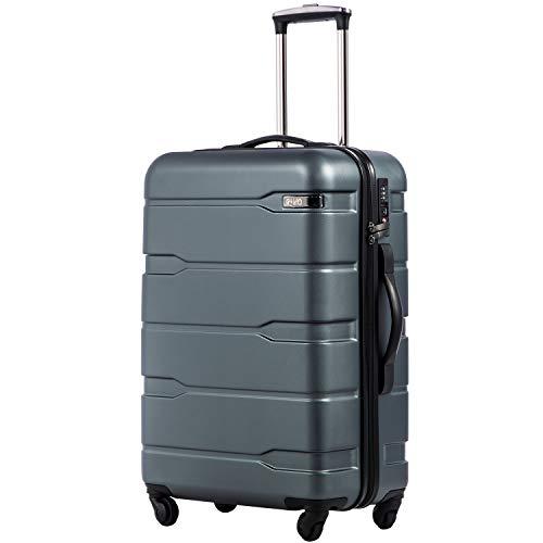 COOLIFE COOLIFE Koffer Reisekoffer Vergrößerbares Gepäck (Nur Großer Koffer Erweiterbar) PC + ABS Material mit TSA-Schloss und 4 Rollen(Teal, Handgepäck)