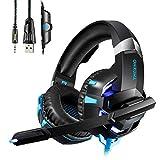 Auriculares Gaming Cascos con Microfono HUOU Cascos Gaming con Luz LED para PS4 / PC / Xbox One Gaming Headset con Control de Volumen,Bass Surround Cancelacion ruido,Diadema Acolchada y Ajustable-Azul